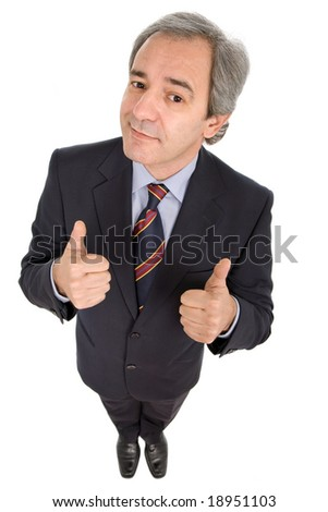 business man going thumbs up, isolated on white - stock photo