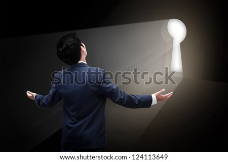 Business man going to exit entrance - stock photo