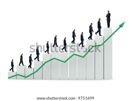 business man going up a chart representing growth and success - isolated over a white background - stock photo