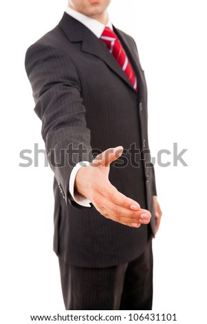 business man greeting with hand shake isolated on white - stock photo