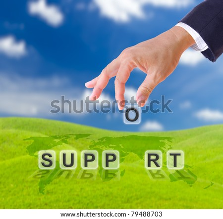 business man hand and support word business concept - stock photo