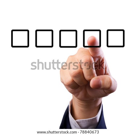Business man hand choose check box isolated - stock photo