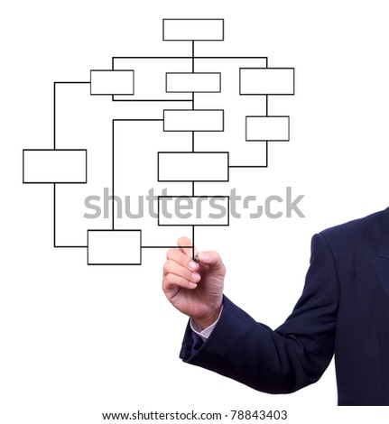 business man hand drawing flow chart isolated - stock photo