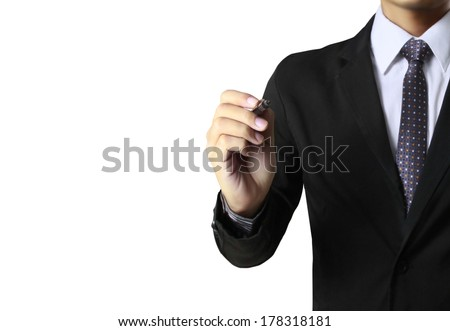 Business man hand drawing in the whiteboard  - stock photo