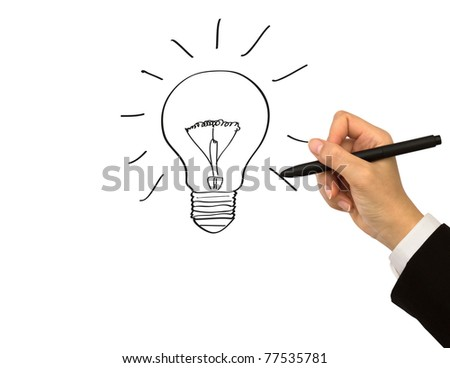 Business man hand drawing light bulb isolated on white - stock photo