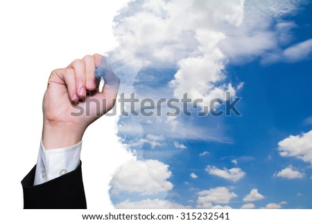 business man hand drawing sky and cloud, creative