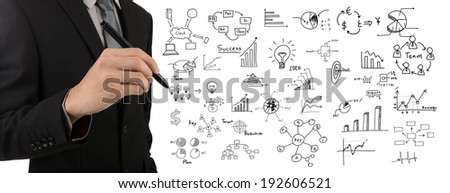 Business man hand drawing success graph over white background - stock photo