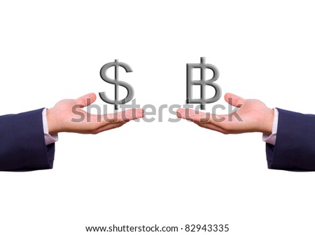 business man hand exchange dollar and baht sign