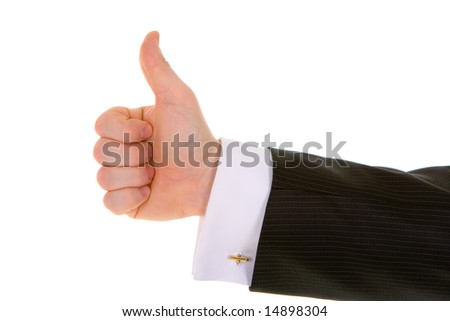 Business man hand gesture isolated in white background