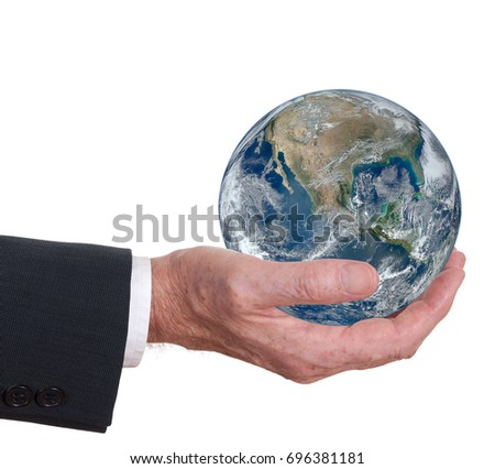 Business man hand hold earth. White background. Corporate responsibility or gobalisation. Note elements of this image furnished by NASA. USA prominent.