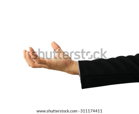 business man hand holding isolated on white background