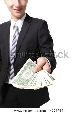 business man hand holding money ( usa one dollar ) isolated on white background