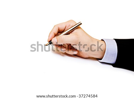 Business man hand holding pen isolated on white background - stock photo