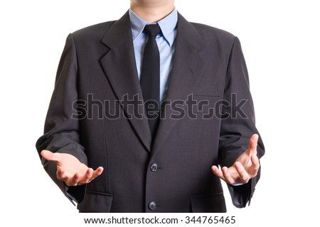 business man hand holding something to show isolated on white background