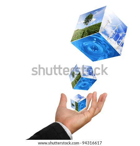 Business man hand holding with nature water drop and wind  turbines farm isolated on white - stock photo