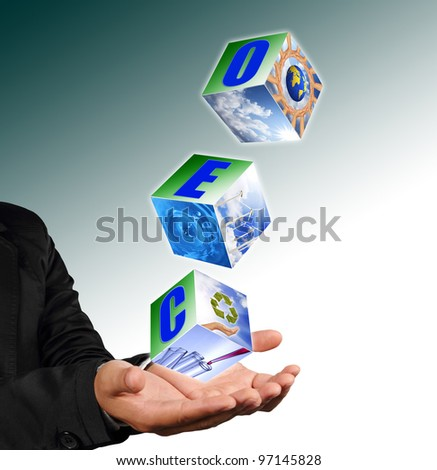 Business man hand holding with recycle symbol image ,neture image and ceo alphabet - stock photo