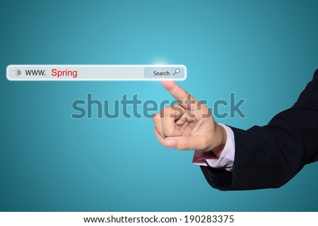 Business man hand pointing Spring