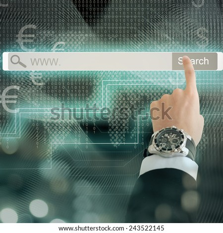 Business man hand pressing high tech button search - stock photo
