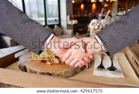 business man hand shake , meeting concept - stock photo