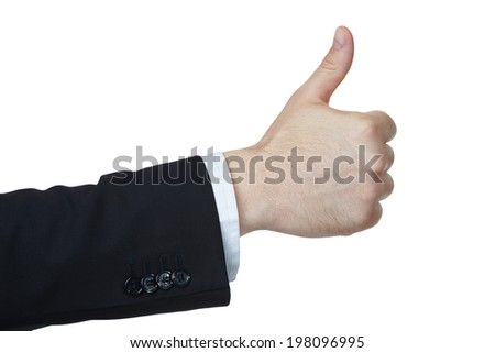 Business man hand showing thumbs up sign against white background - stock photo
