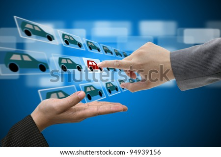 Business Man Hand touch Virtual Touch Screen Interface for New Car from Electronic Market