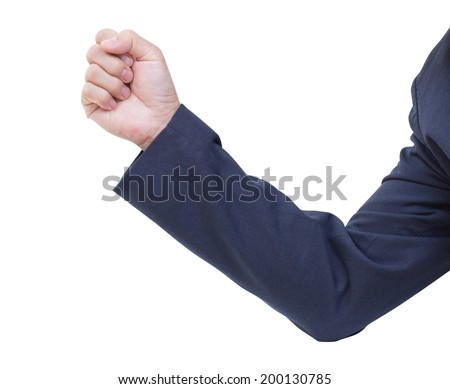 Business Man hand with a fist, isolated on a white background, clipping path - stock photo