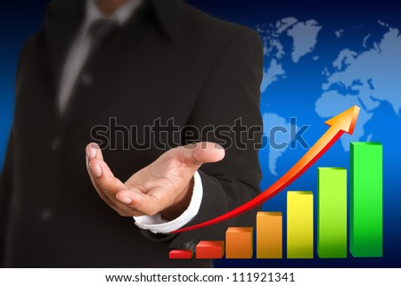 Business man hand with bisiness graph - stock photo