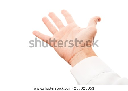 Business man hand with empty place for hold or grab something, studio photo isolated on white with selective focus - stock photo
