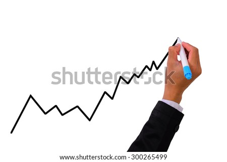Business man hand with pen marker writing a diagram  graph - stock photo