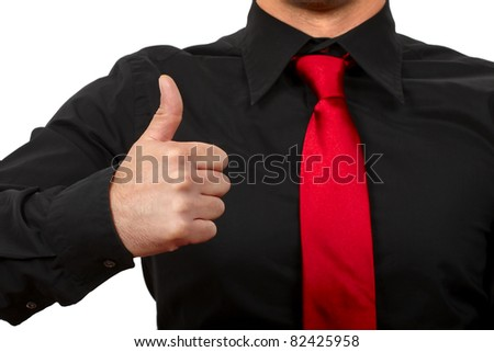 Business man hand with thumb up. Isolated on withe background. - stock photo