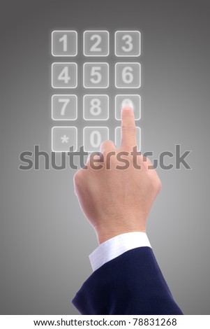 business man hand with transparent telephone buttons