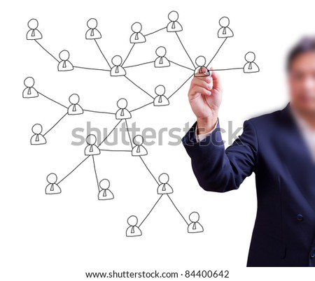 business man hand writing social network on whiteboard - stock photo