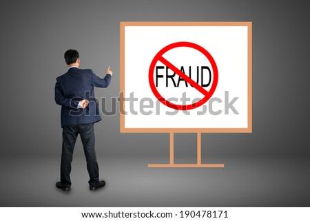 Business man hand writing Stop fraud - stock photo