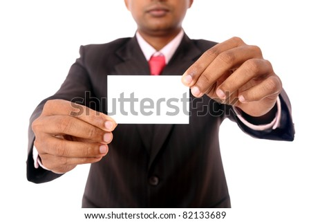 Business man handing a blank business card Isolated on white - stock photo