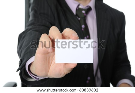 Business man handing a blank business card. Isolated on white background - stock photo