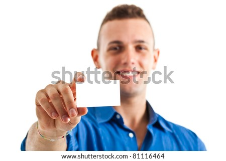 Business man handing a blank business card over white background - stock photo