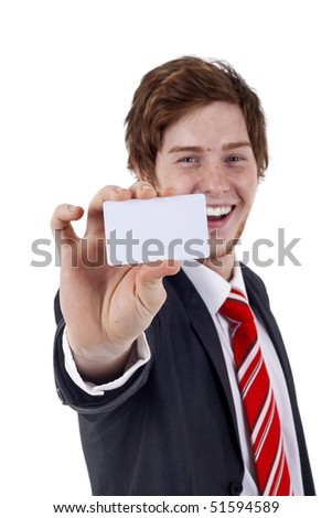 Business man handing a blank business card over white background, focus on hand and card - stock photo