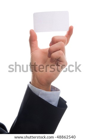 Business man handing a blank business over white background - stock photo