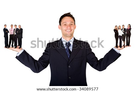 Business man - Hands facing up with his teams over a white background