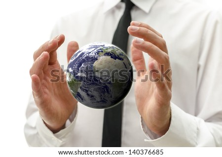 Business man hands holding the earth globe. - stock photo