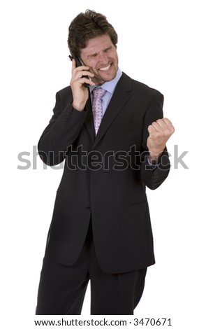business man  happy getting great news the phone