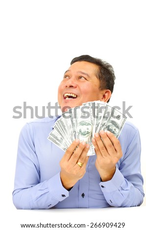 business man happy with many banknote - stock photo