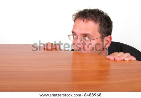 Business man has fear from responsibility - stock photo