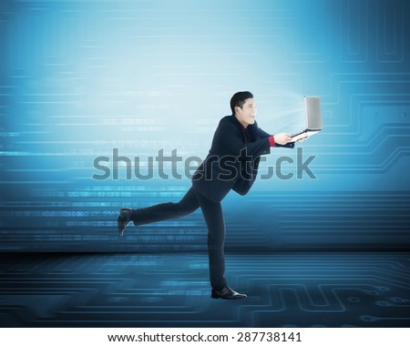 Business man have fast internet access. Internet connection concept - stock photo