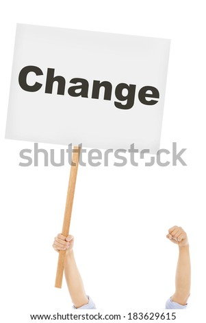 business man hold a board to protest  - stock photo