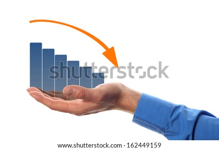business man hold a chart with decreasing beam  - stock photo