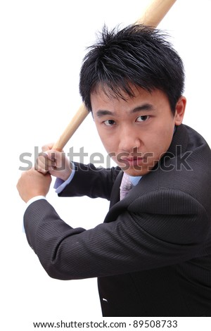 Business man hold baseball bat concentrate on hit - stock photo