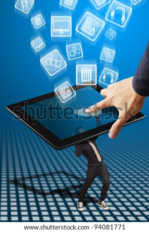 Business man hold many icon and touch - stock photo