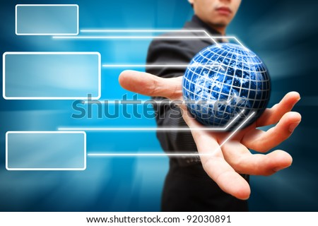 Business man hold the Digital world