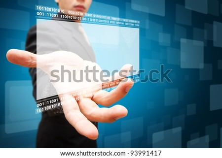 Business man hold the windows background - stock photo
